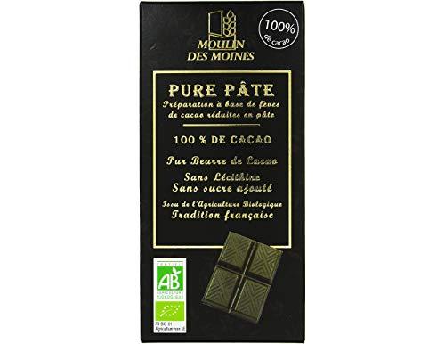 Moulin des Moines - Chocolat bio 100%pure pâte de cacao sans sucre - 100g