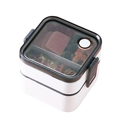 Lunch Box, Boîte à Déjeuner en Plastique, Boite Bento pour Enfant & Adulte en 2 Etages, Boite Dejeuner Hermétique, pour Pique-Nique, Travail, Micro-ondes & Lave-vaisselle, Sans BPA