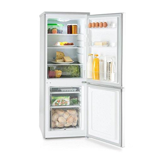 KLARSTEIN Bigpack Nevera Congelador Combinado - Capacidad 160 litros, Congelador 45 L, 3 estantes, Silencioso 42 dB, Ajuste de Temperatura, 1 x Bandeja de Cubitos, Plata