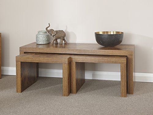 Home Source - Particle Board Study Walnut Mango Effect Nest of Tables Set 1 Long 2 Small Table