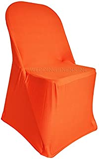 Wedding Linens Inc.. (2 PCS Spandex Folding Fitted Chair Covers, Lycra Stretch Elastic Wedding Party Decoration Chair - Orange