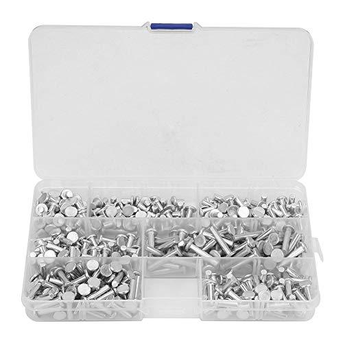 Kit de surtido de remaches de aluminio sólido de cabeza plana 350Pcs M4 Longitud 4/6/8/10/12/16/20 mm