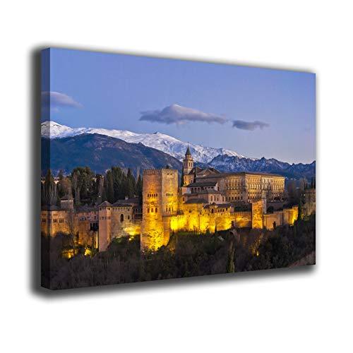 Desconocido Cuadro Lienzo Canvas Alhambra Granada Luces al Atardecer Sierra Nevada Pico Veleta – Varias Medidas - Lienzo de Tela Bastidor de Madera de 3 cm - Impresion en Alta resolucion (60, 35)