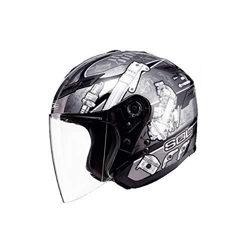 ZXASDC Jet Casco Moto, Casco de Moto Jet Abierto Urbano Demi-Jet Mofa Chopper Vintage Helmet Scooter Cruiser Urban Piloto Moto Motocicleta Biker Bobber Visera Incluido, Certificado Dot