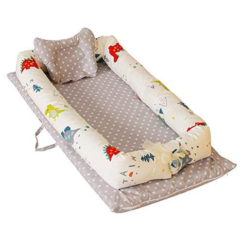 HYLH Lit de bébé portatif avec l'oreiller Mou Lit Amovible et Lavable d'isolation Chaise Longue Respirante hypoallergénique