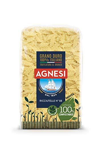 Agnesi Ricciutelle | Pasta di semola di grano duro 100% italiano | Trafilatura al bronzo | Confezione compostabile da 500 grammi