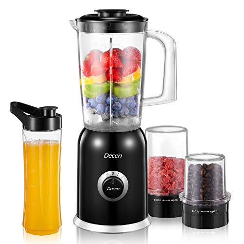 Decen 4 in 1 Smoothies Blender / Personal Blender / Meat Ginder / Coffee Grinder Set with 4 Exclusive Titanium Blades, 2 Speed Settings & Pulse, 20Oz BPA-Free Blender Cup for Shakes and Smoothies, 300W