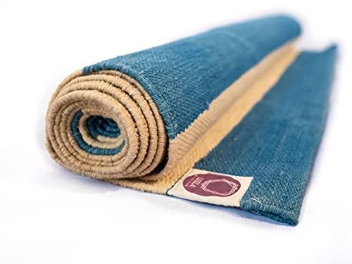 LEELA Yoga RugIEsterilla yoga antideslizante,ecológica de algodón orgánico ITintes vegetales naturales,esterilla yoga viaje plegableIEsterilla deporte para ashtanga,yin yoga o gimnasio en casa (Beige)