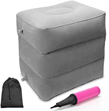 Travel Foot Rest Pillow, Ahier Inflatable Travel Leg Rest Pillow Bed for Foot Rest on Airplanes, Cars, Trains, Office, and Kids to Sleep on Long Flights
