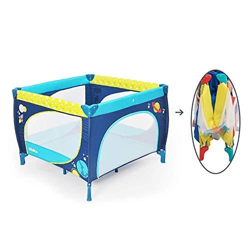 XHJYWL Cuna Plegable portátil de corralito para bebés pequeños, Cuna de Viaje Grande Multifuncional para bebés con Anilla, 100x100cm, Azul