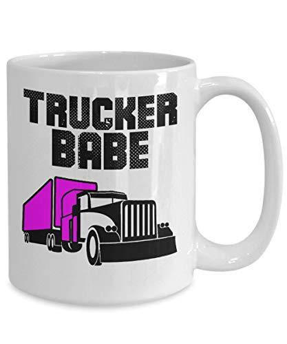 DKISEE Trucker Gifts Taza de café Trucker Babe idea de cumpleaños para hombres y mujeres, 11 oz