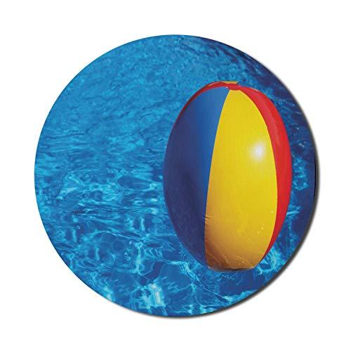 Alfombrilla redonda para ratón, alfombrilla para ratón de piscina para ordenadores, bola inflable de plástico de colores para nadar en una piscina azul, alfombrilla redonda de goma antideslizante con