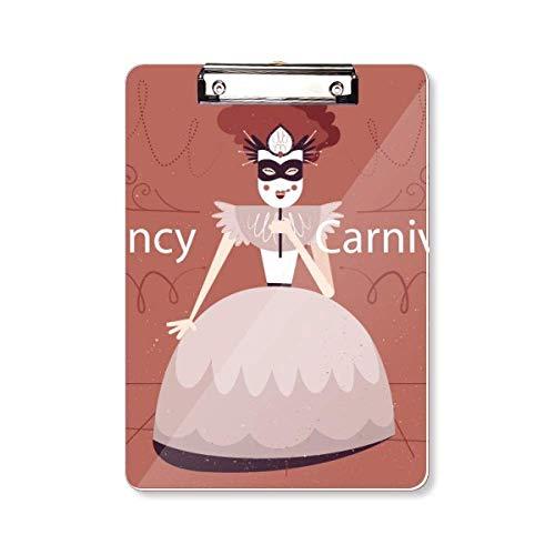 Vrouwelijke Jurk Masker Gelukkig Carnaval van Venetië Clipboard Folder Schrijven Pad Backing Plate A4