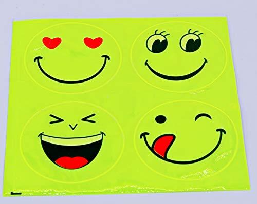 Smiley Aufkleber reflektierend 4 Stück Set Reflektoren Sicherheits gelb Reflektorsticker Neongelb