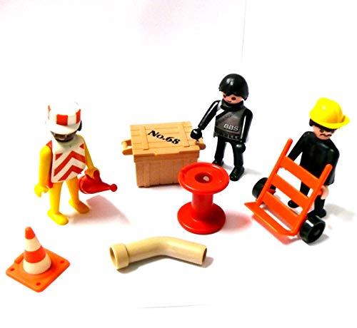 Playmobil ® Baustelle mit 3 Arbeitern Sackkarre Pylone Rohr Kiste usw.