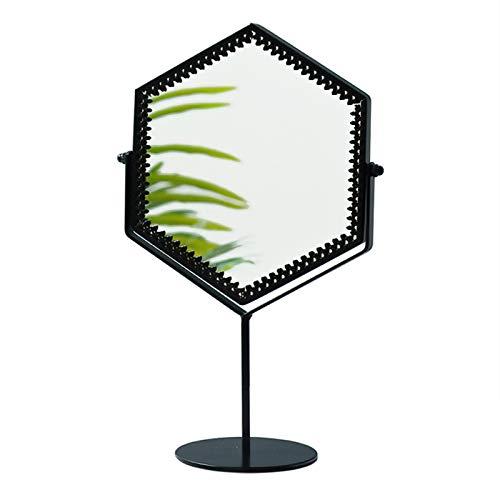 OWUV Espejo De Maquillaje De Pie para Dormitorio con Base Antideslizante, Tocador Espejo De Vanidad, Forma Hexagonal, Espejo Cosmético para Niñas Pequeñas, Adornos De Espejo Decorativos De Escritorio