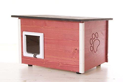 running rabbit gmbh rotes Katzenhaus - Katzenhütte mit Heizung und Katzenklappe, Boden/Wände wärmegedämmt