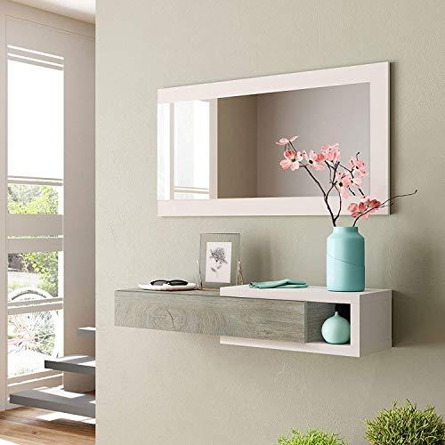 Mobile ingresso SOSPESO con cassetto ripiano e specchio ROVERE + BIANCO 95 X 29 X 19 cm - 0C6743A