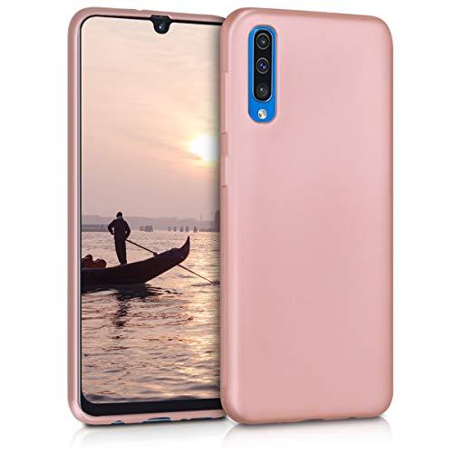 kwmobile Cover Compatibile con Samsung Galaxy A50 - Protezione Back Case Silicone TPU Effetto Metallizzato - Custodia Morbida Oro Rosa Metallizzato