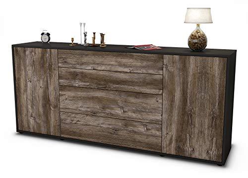 Stil.Zeit Sideboard Elettra/Korpus anthrazit matt/Front Holz-Design Treibholz (180x79x35cm) Push-to-Open Technik & Leichtlaufschienen