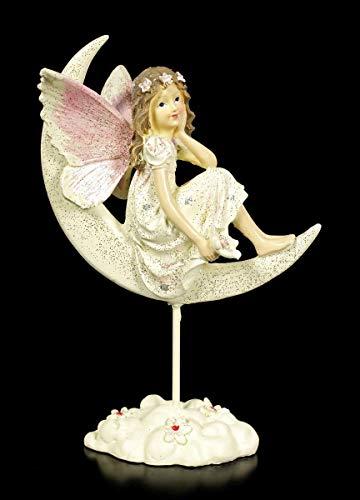 Traum Fee Fantasy Figur auf Mond, mit Goldglitzer bestäubt   Elfe, Skulptur, Statue, Schutz-Engel, H 17,5 cm