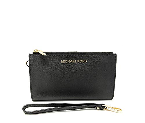 Michael Kors Jet Set Travel double Zip Wristlet (Black Saffiano)