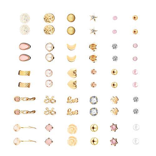 teng hong hui 30 Pair Multiple Ear Studs crystal earring Earrings Set Assorted Crystal Rhinestone Women Piercing Earrings