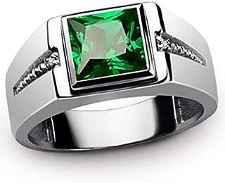 Naomi 18K White Gold Filled Ruby Sapphire,Topaz,Emerald Men's Wedding Ring Size :7-15 (Green,7)