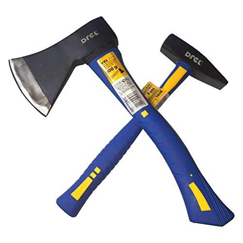 CNCPRINT Set 2 Stück | Axt 800g Hammer 500g Glasfasergriff | Mit PE bedeckte Griffe | Härte 53HRC |