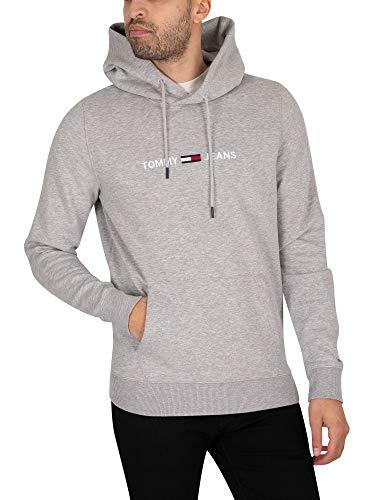 Tommy Jeans Herren TJM Straight Logo Hoodie Pullover, Grau (Lt Grey Htr), X-Large
