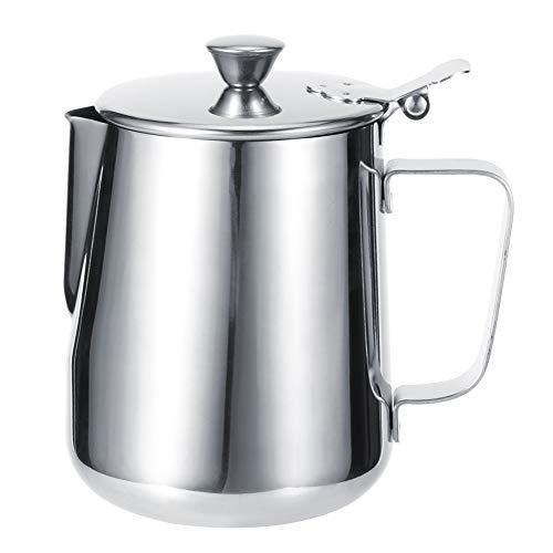 Yagosodee Jarra para Hacer Espuma de Leche de Acero Inoxidable Taza para Hacer Café con Tapa para Taza de Café para El Hogar (1000 Ml)