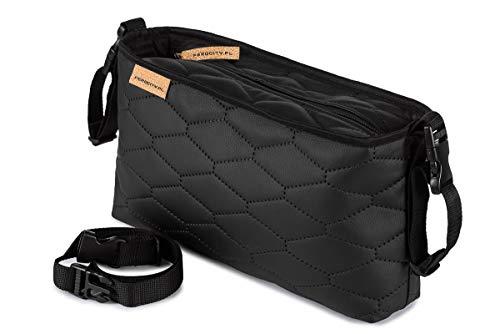 Buggy Organiser Kinderwagen Organizer Tasche passend alle Kinderwägen Öko Leder schwarze Steine Leather Stones [075]