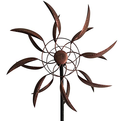 LERFUGI 360 Degrees Metal Swivel Classical Wind Spinner Willow Leaves for Patio Lawn Outdoor Yard Lawn Garden