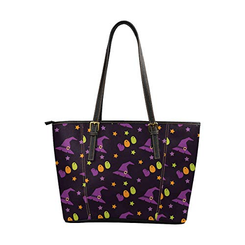 INTERESTPRINT Halloween Candy, Pumpkins, Witches, Ghosts PU Leather Tote Women Shoulder Handbags