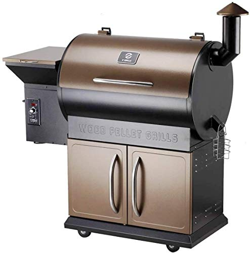 Wood Pellet Grill Smoker with Patio Cover,700 Cooking Area 6 in 1 Electric Digital Controls Grill for Outdoor BBQ Smoke, Roast, Bake, Braise and BBQ with Storage Cabinet