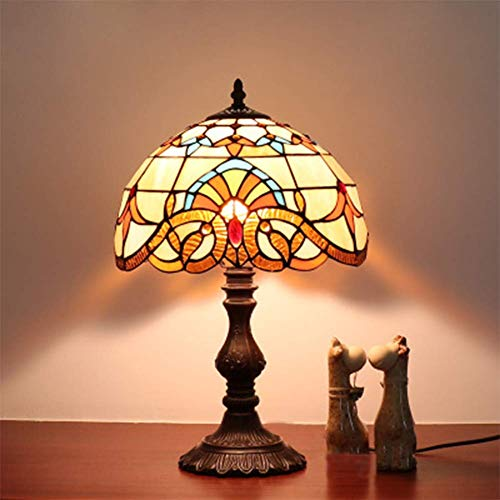 DIMPLEYA Lámpara de Mesa Tiffany, Vintage de Estilo Barroco de 12 Pulgadas Vintage para el Dormitorio en casa romántico Hecho a Mano