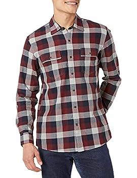 Amazon Brand - Goodthreads Men s Standard-Fit Long-Sleeve Plaid Herringbone Shirt Navy Eclipse Large