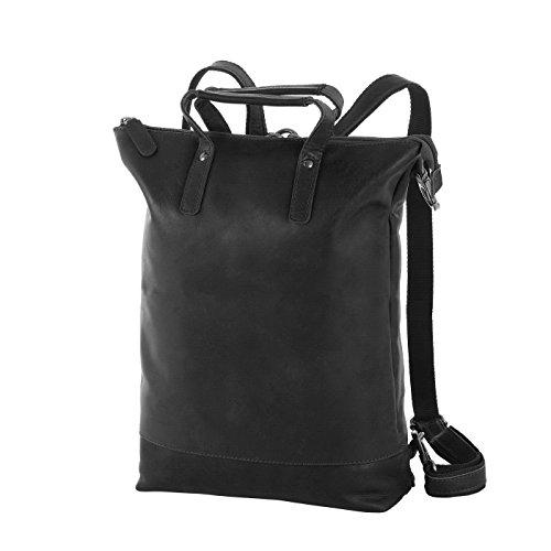 Rada Nature Rucksack Damen, 3in1 aus Leder, Umhänge – Kurzgrifftasche, Daypack Vintage-Look (schwarz)