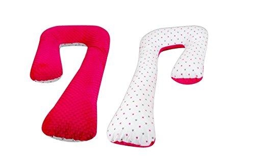 """cuscino allattamento gravidanza minky-cotone,post-parto,multiuso,sfoderabile """"7"""" (motivo: stelline grigio rosa sfondo bianco - rosa)"""