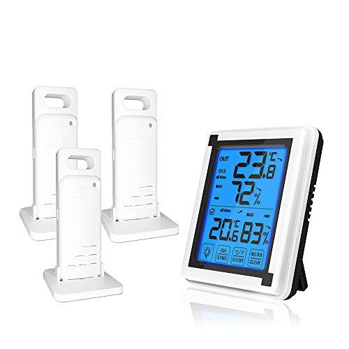 Kaishengyuan Thermometer Hygrometer Innen und Außen,Wetterstation Funk mit 3 Außensensor,für Innenraum, Babyraum, Wohnzimmer