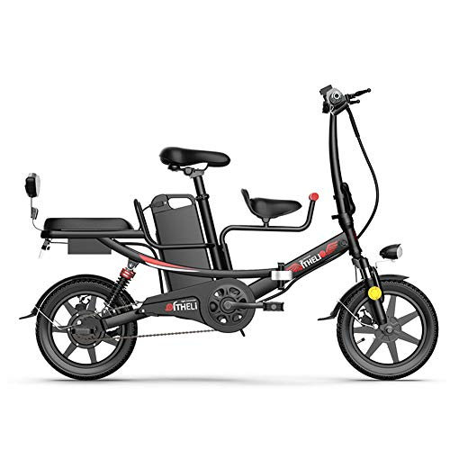 WM Adulto 14 Pulgadas Bicicleta eléctrica batería de Litio Plegable Coche eléctrico Mini Coche Padre-Hijo 48v 400w ciclomotor,Negro