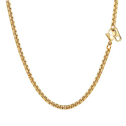 PROSTEEL Chapado en Oro 18 k Cadena de Veneciana Cadena de Caja Box Chain Cadena Fina de Acero Inoxidable Collar Hombre Mujer Hiphop Collar