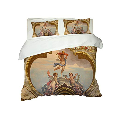 CJZYY 3D Duvet Cover Baby angel Printed Bedding Duvet Cover with Zipper Closure,3 Pieces (1 Duvet Cover +2 Pillowcases) Ultra Soft Microfiber Bedding -King 220 X 230 cm