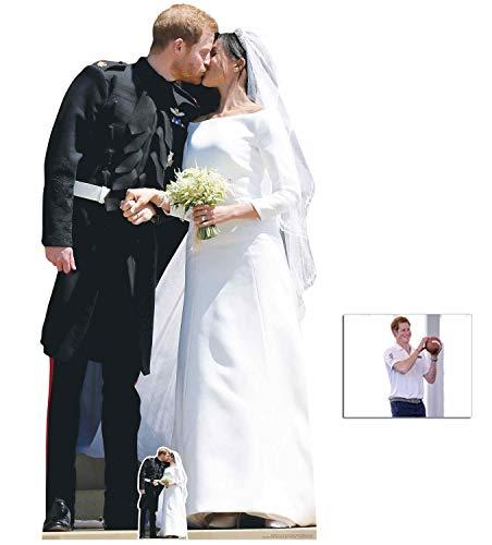 BundleZ-4-FanZ by Starstills Prinz Harry und Meghan Markle Erster Kuss Lebensgrosse und Klein Pappaufsteller mit 25cm x 20cm Foto