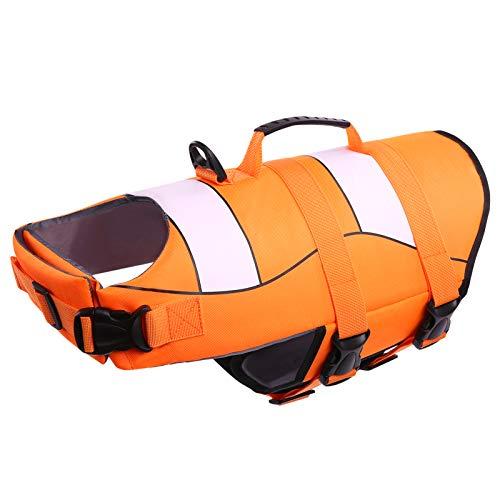 CITÉTOILE Chaleco Salvavidas para Perros Ajustable, Estilo Deportivo con Asa, Chalecos de flotación para Perros para la Seguridad del Perro Mientras Nadan o en Remo/Canoa/Kayaks, L