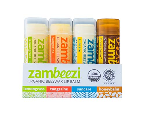 ZAMBEEZI Fair Trade, Organic Beeswax Lip Balm - Variety 4 Pack (Lemongrass, Tangerine, Suncare and Honeybalm) - Ethically Sourced