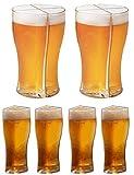 asfasfd 4 in 1 Acrylic Plastic Beer Mugs, Super Schooner Glass Mug Acrylic Beer Stein 4in1 Beer Mug, Friends Party Holiday Birthday Christmas Drink Beer Mug (L, 2pcs)