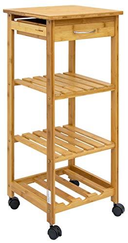 DuneDesign Bambus Küchenwagen 37x37x85 Servierwagen Holz Rollregal Küchenregal