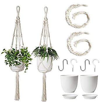 POTEY Macrame Plant Hanger with Pot Included - Hanging Planters Basket with Plastic Planter 6.3 Inch and 4 Hooks  2 Plant Hangers and 2 Flower Pots  Hanging Plant Holder with Tassels 40  ,Ivory