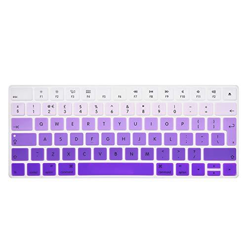 i-buy Silikon Tastatur Abdeckung Film Kompatibel für Apple Magic Keyboard, Tastaturschutz Imac Anti Staub Kompatibel ,Tastatur Schutzfolie Cover [EU Englisch Layout]- Lila verlaufend